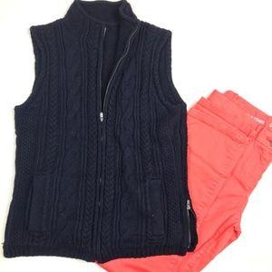 Talbots Navy Cable Knit Vest Size SP